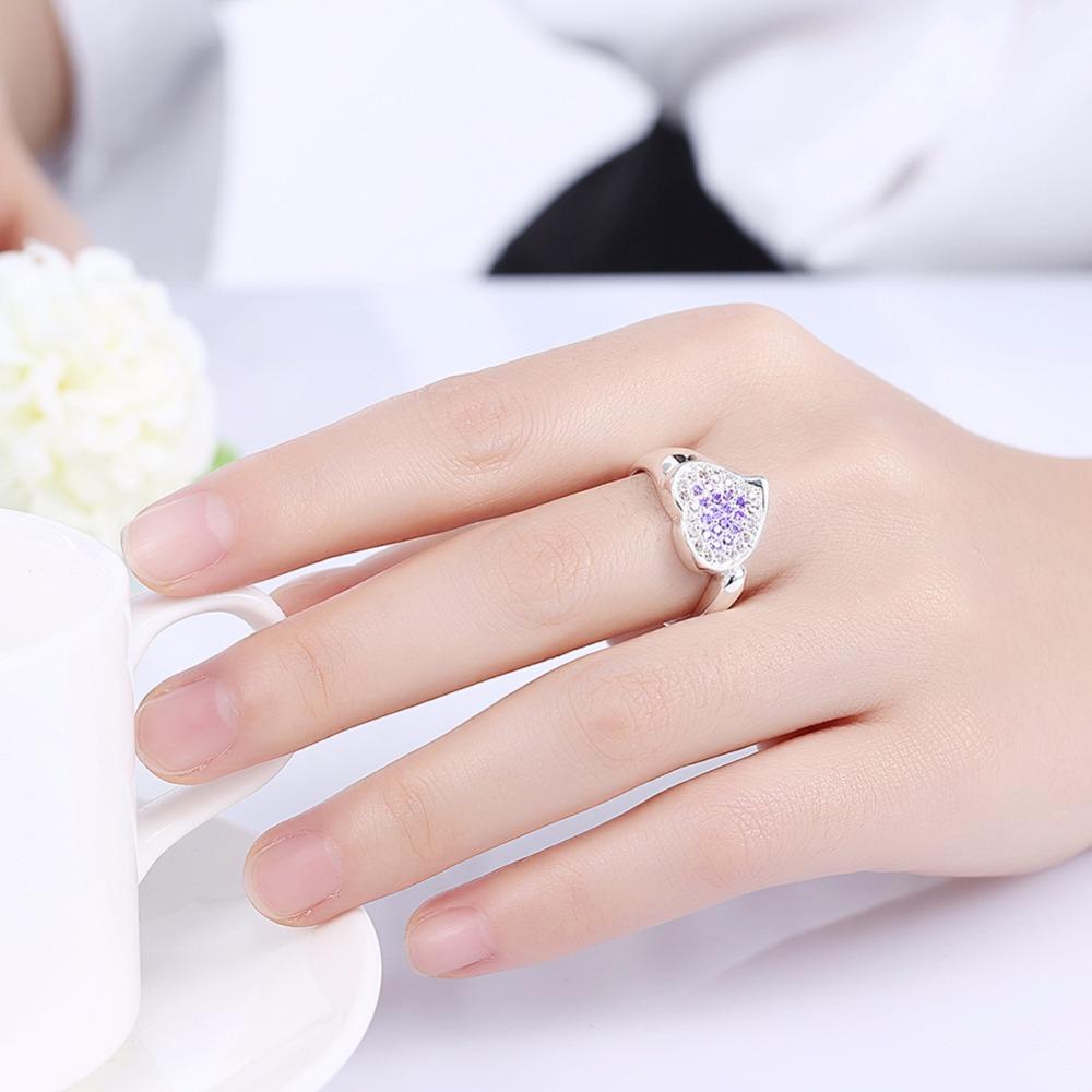 blue purple heart crystal finger wear 925 silver Rings nice gift box ...