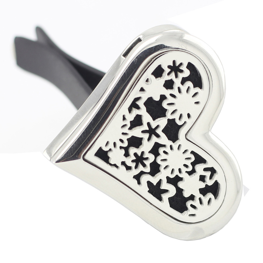 New Arrival Magnetics Car Perfume Locket Heart Shape 35mm 316 Stainless Steel Car Aromatherapy Essential Oil Diffuser Lockets