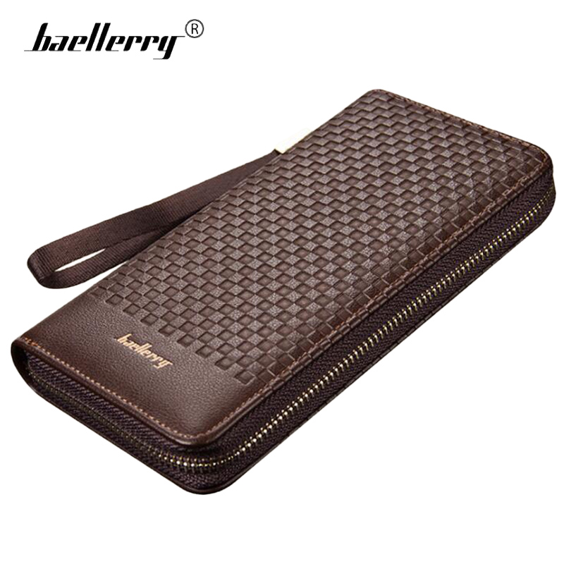 Baellerry Fashion Embossed Men Wallet Long Zipper Leather Clutch Male Coin Purse Mens Phone Bag Famous Brand Black Men Wallets baellerry small mens wallets vintage dull polish short dollar price male cards purse mini leather men wallet carteira masculina