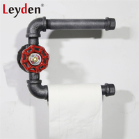 Leyden Iron Pipe Toilet Paper Holder Industrial Style Double Tissue Paper Holder Rack Wall Mounted Restroom Bathroom Decoration