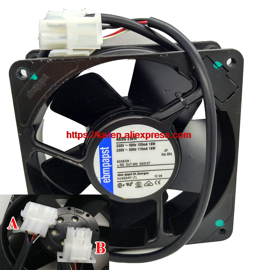 EBM PAPST 12cm 12038 4656ZWH 230v 19W Cooling fan 120*120*38MM 5WIRE original delta ffb1224she 12cm 120mm 12038 120 120 38mm 24v 1 20a cooling fan