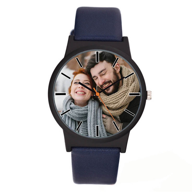 A3307 Lovers watch DIY with your own picture Custom clock dial leather sport cas