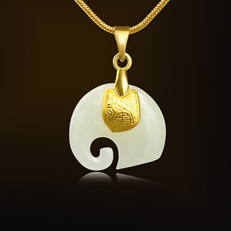 Gold Jade Pendant Necklace Drop Shipping Hetian Jade Elephant Pendant Lucky Amulet 24K Gold Jewelry For