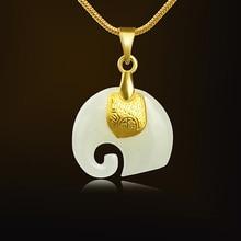 Jade Pendant Lucky-Amulet Elephant Necklace Gold Jewelry Women 24K