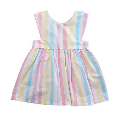 GLANE Apparel Factory Toddler Baby Girls Multi Striped Dress Princess Holiday Beach Dresses Clothes