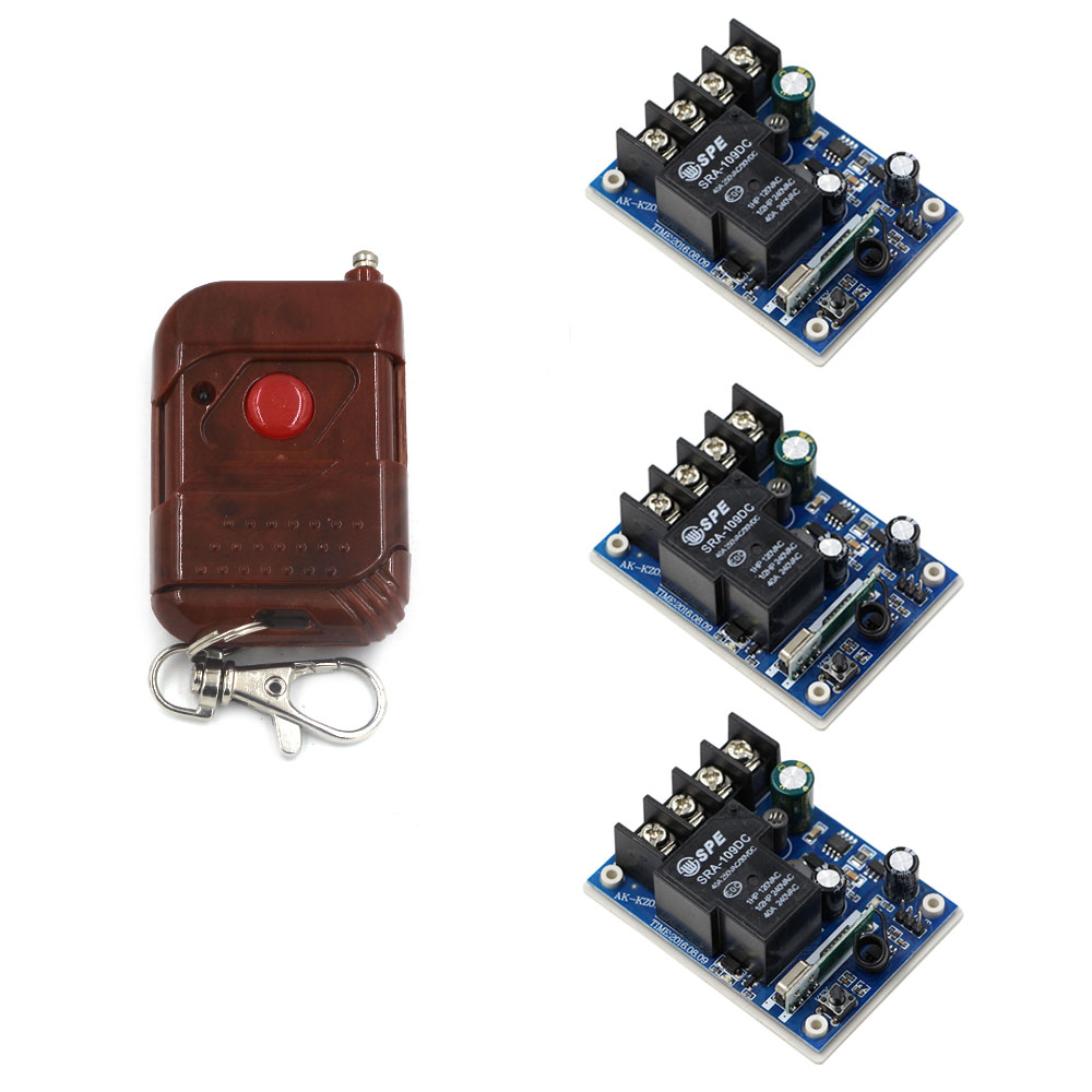 Latest DC 12V 24V 36V 48V 30 A 1 Channel RF Wireless Remote Control 3pcs Receiver & 1 pcs Peach Transmitter for Windows & Light цена