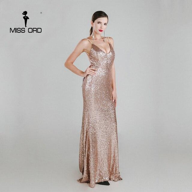 Missord 2019 Sexy halter Bow V-neck  party dress sequin maxi dress FT3995 1