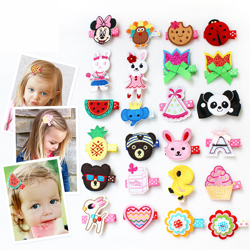 1 PCS Lovely Cartoon Animal Flowers Hair Clips Baby Exquisite Embroidery Girls Hair Accessories Children Headwear Kids Hairpins 1 pcs lovely cartoon swan temperament baby hairpins kids hair clips princess barrette children headwear girls hair accessories