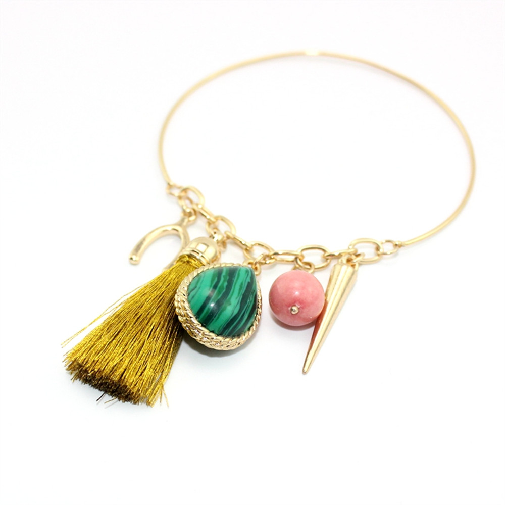 jewelry copper bracelet gold rope bracelet double malachite