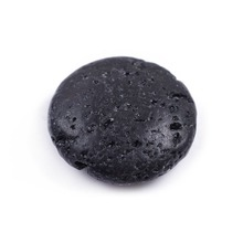 10Pcs Flat Natural Essential Oil Lava Stone Round Shape Beads DIY Pendant