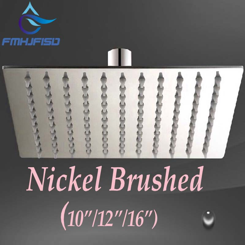 Promotion Brushed Nickel Square Rain Shower Head 10 /12 /16 Shower Sprayer Top Wall Ceiling Mounted Head hot sale wholesale and retail promotion new modern brushed nickel 12 rain shower head ultrathin shower head replacement