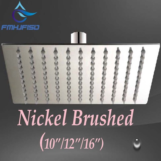 Promotion Brushed Nickel Square Rain Shower Head 10 12 16