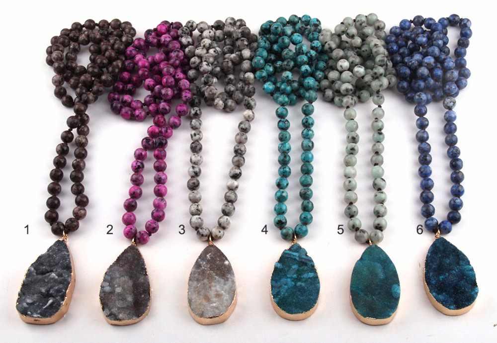 Mode Stein Lange Verknotet Druzy Drop Anhänger Halskette Frauen Lariat Halsketten