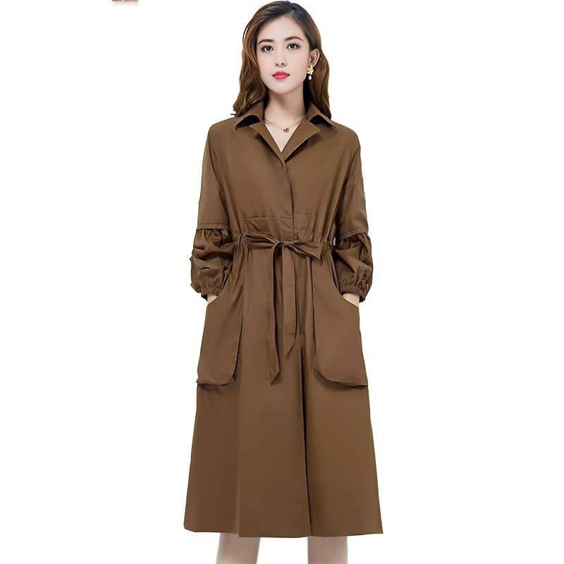 2019 Spring Autumn New Women's   Trench   Coat Belt Loose Windbreaker Solid Pockets Long Warm Raincoat Overcoat Clothes Big Size M19