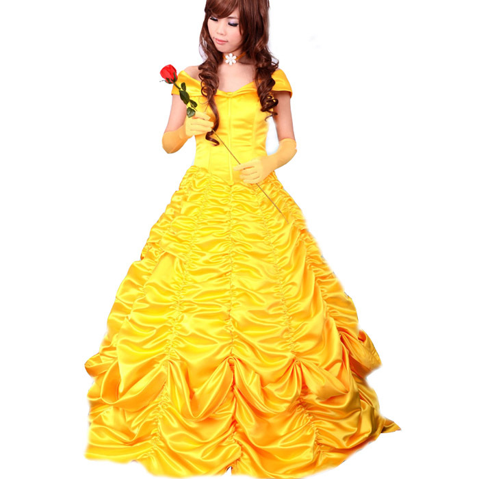 Adult princess belle costume women beauty and the beast cosplay party halloween costumes for - Robe princesse disney adulte ...
