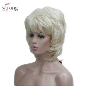 Image 2 - StrongBeauty delle Donne Parrucca Sintetica Breve Rettilineo Fluffy Naturale Dei Capelli Senza Cappuccio Parrucche Bleach Blonde #613