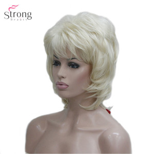 Image 2 - Strongbeauty 여성용 합성 가발 짧은 스트레이트 털이 자연 헤어 캡리스 가발 블리치 블론드 #613