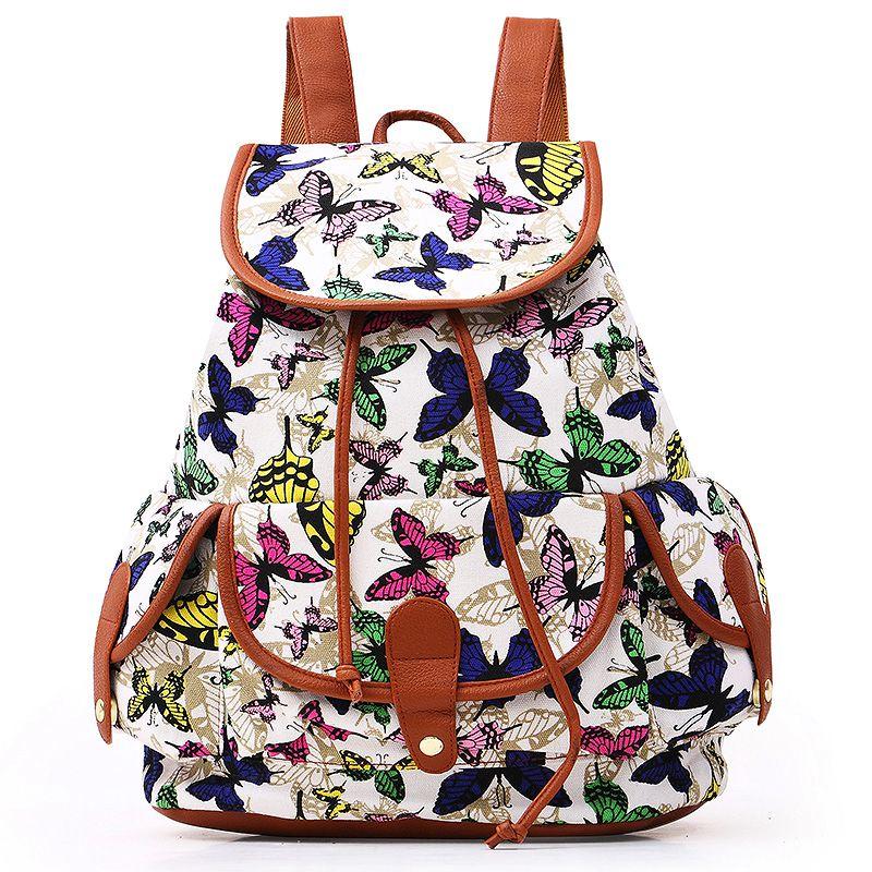 New Vintage Women Girls School Bag Bohemian Backpack Drawstring Printing Canvas Traveling Rucksack LT88