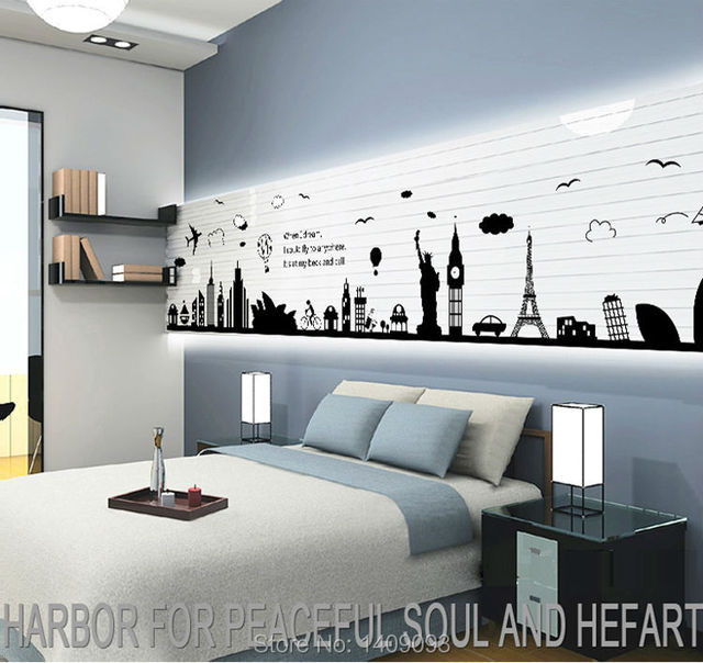 World map wall sticker black vinyl london paris world famous travel world map wall sticker black vinyl london paris world famous travel place wall decals large sticker gumiabroncs
