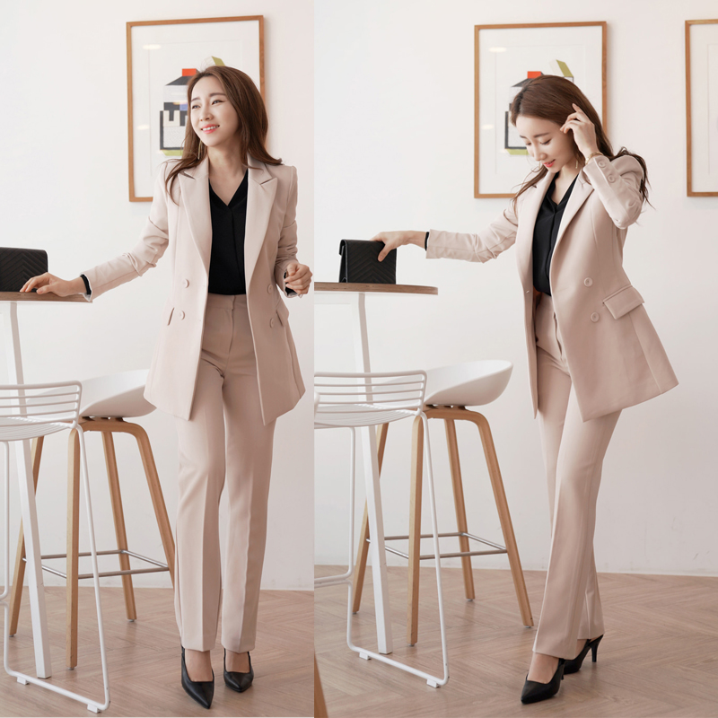 Womens Work Business Fashion Pant Suits 2 Piece Sets Double Breasted Blazer Jacket & Straight Pant Office Women Suit Outfit