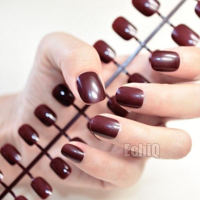 Online Shop New Arrival 24pcs Dark Brown Coffee Children Fake Nails ...