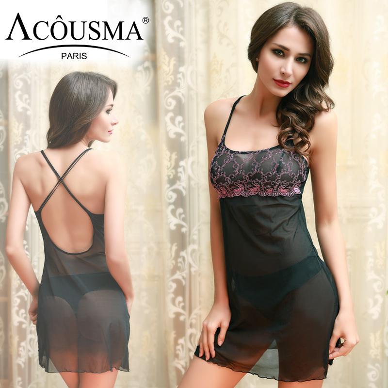 ACOUSMA translucent Sexy Women Nightgowns Night Dress Shirt Floral Embroidery Spaghetti Strap Sleepwear Nightwear Cross Back