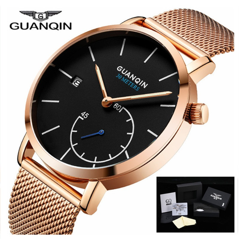 New Watches Men Luxury Brand GUANQIN Gold Stainless Steel Strap Fashion Watch Waterproof Sport watches for men relogio masculino casima 2018 new relogio masculino leather strap men s watch men gold waterproof 5bar watches top brand luxury calendar week