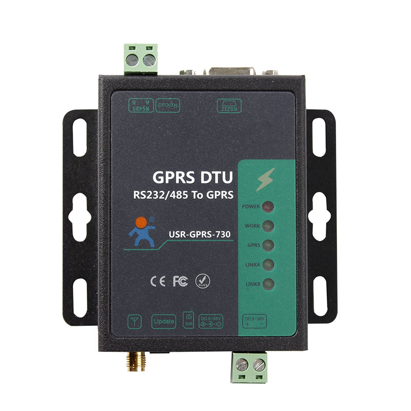 USR-GPRS232-730  GPRS DTU RS232/RS485 to GSM Server GSM850/900 DCS1800/1900 Supported fast free ship gprs dtu serial port turn gsm232 485 485 interface sms passthrough base station positioning usr gprs 730
