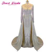 Real Photos Sample Beading Crystal Long Sleeves Mother dresses Elegant Detachable Evening Gowns Formal Celebrity Prom Dresses