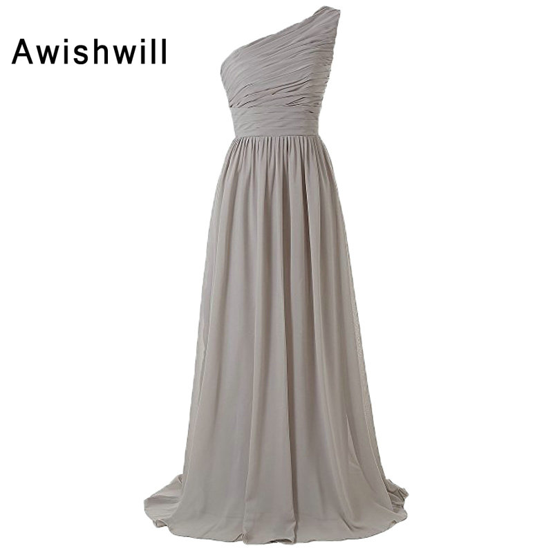 Real Pictures One Shoulder Ruched Chiffon Lace-up Back Grey ...