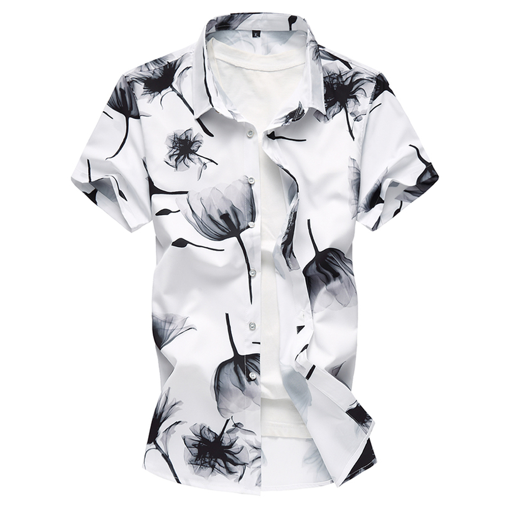 2018 summer New Fashion Printing Design Chinese Style Male Short-Sleeved Shirt Plus Larg ...