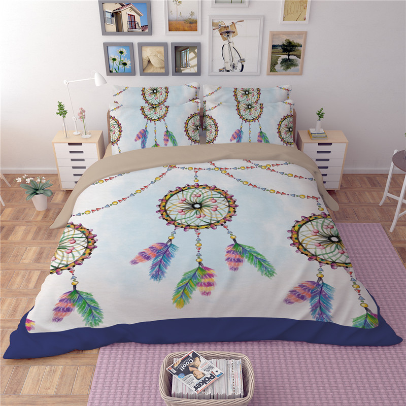 Fashion Bohemian Feather Duvet Cover Set twin Single Double Queen King 3pcs beautiful 3D Bedclothes Dream catcher Bedding SetsFashion Bohemian Feather Duvet Cover Set twin Single Double Queen King 3pcs beautiful 3D Bedclothes Dream catcher Bedding Sets