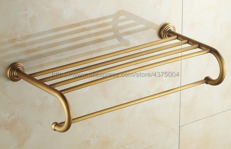 Bathroom Copper Towel Bar Antique Brass Toilet Towel Holder Towel Rack Shelf Solid Holder Brief Fixed Bathroom Accessory Nba026 new arrivals square antique fixed bath towel holder solid brass towel rack holder for hotel or home bathroom storage rack shelf