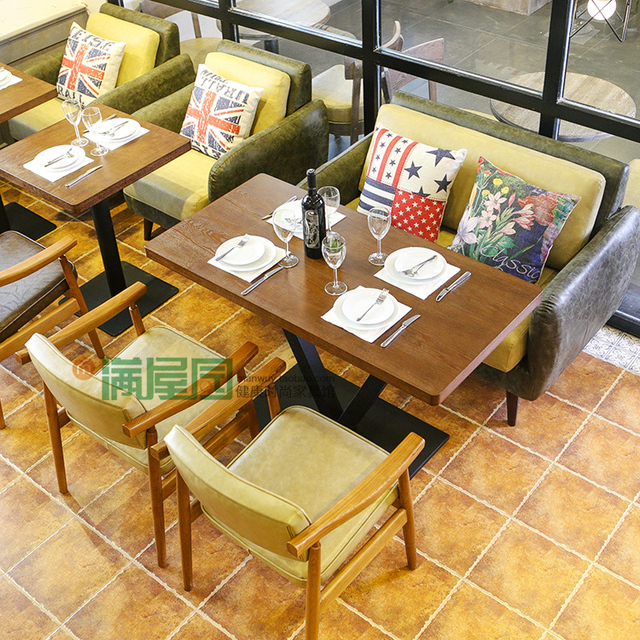 Retro Restaurant Cafe Sofa Spell Color Personalized Leather Sofas American  Casual Theme Restaurants Restaurants Furniture