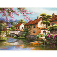 HOT Frameless Small House Pictures Painting By Numbers Wall Art Of Landscape DIY Canvas Oil Painting