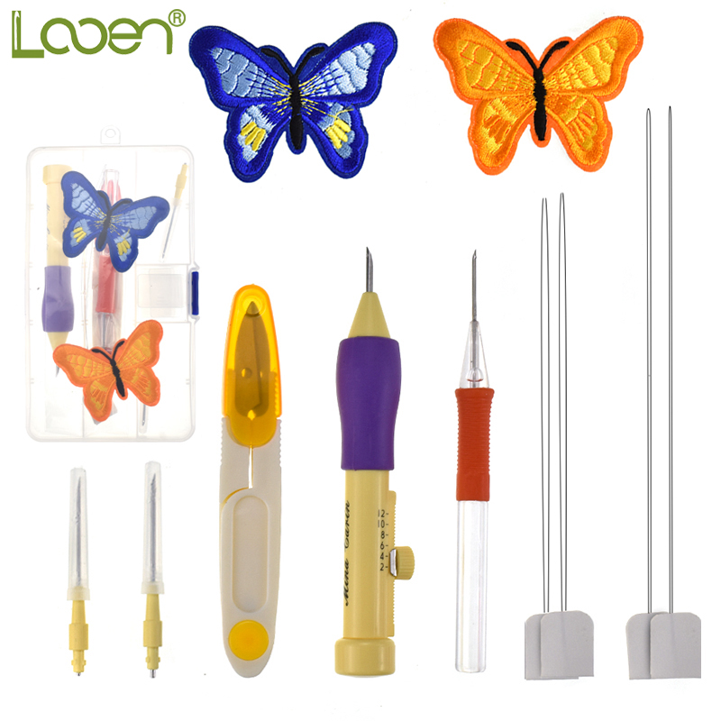 Looen Magic Embroidery Stitching Punch Pen Set con bordado mariposa ...