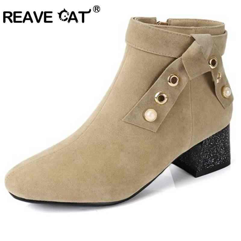 REAVE KEDI EURO boyutu 34-43 moda Sonbahar Bahar akın Kadın yarım çizmeler Kalın topuk Zip kadın Botas mujer inci feminino A1117