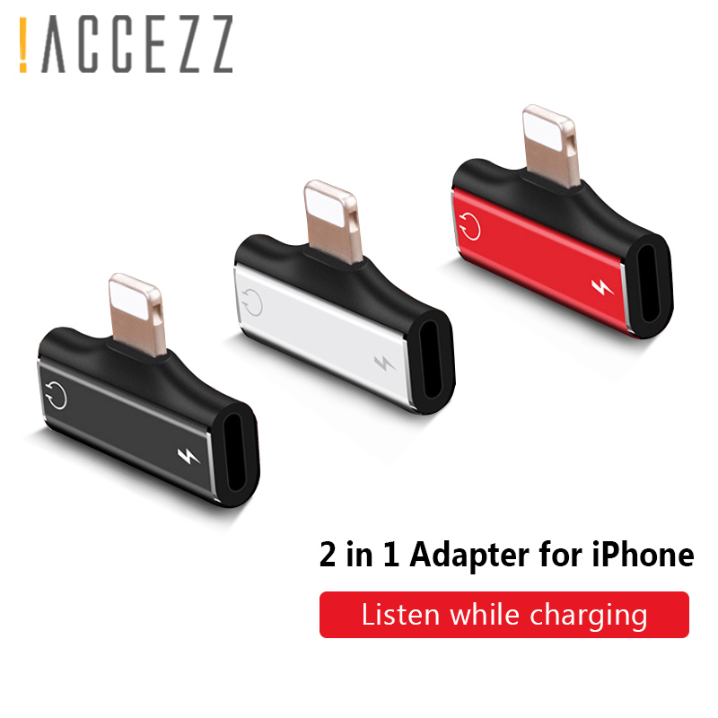 !ACCEZZ Dual Lighting Adapter For <font><b>iphone</b></font> X 8 <font><b>7</b></font> Plus XS MAX XR Charger Adapter AUX Splitter USB Cable 1.2M Calling Audio <font><b>Adaptor</b></font> image