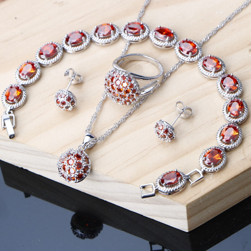 b61a58b47fa3 Joyería de las mujeres conjuntos redondo rojo granate Cubic Zirconia  joyería de plata 925 pendientes collar conjunto pulseras 3 opción para las  niñas ...