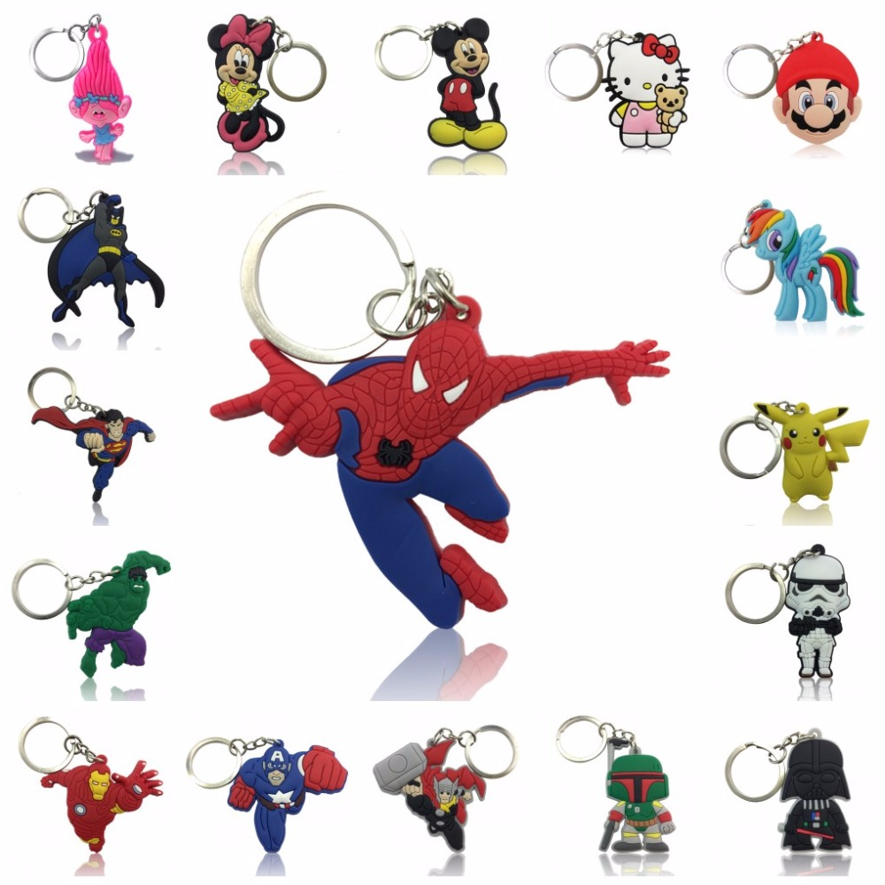1pcs Avengers Super Mario Mickey Troll Cartoon Figure Key Chain PVC Anime Key Ring Kid Toy Pendant Keychain Key Holder Xmas Gift