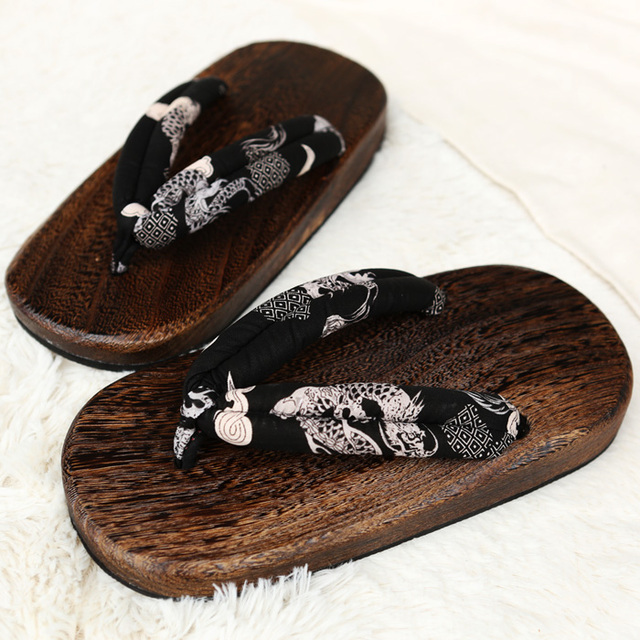 f5b1c20f220c Charming Japanese SAMURAI Clogs Wood Sandals Man Clogs Flat Wood Heel  Square Toe Shoes Summer Plank Slippers Sandals