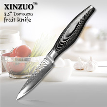 XINZUO 3.5″ inches paring knife 73 layers Japanese Damascus kitchen knife fruit knife with Color wood handle free shipping