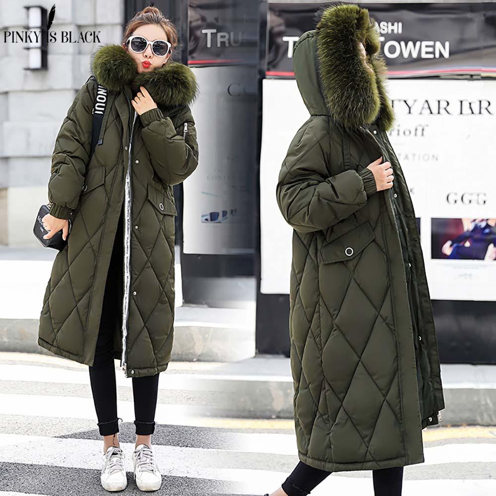 Pinkyisblack Vêtements Longue 2018 Femelle Parkas Col Hiver D'hiver De gris army ivoire Faux Noir Fourrure Femmes Green Chaud Manteau Veste wrgpw6q