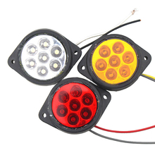 1 Pair 7 LEDs Car Side Marker Lights Truck Clearance Round Lamp for Automobiles Trailer 12V Red Yellow White