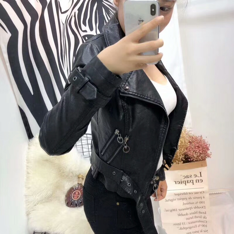 2018 New Fashion Women High Street Faux   Leather   Jackets Lady Autumn Winter Motorcycle PU Biker Coat Outerwear Casual Hot Sale
