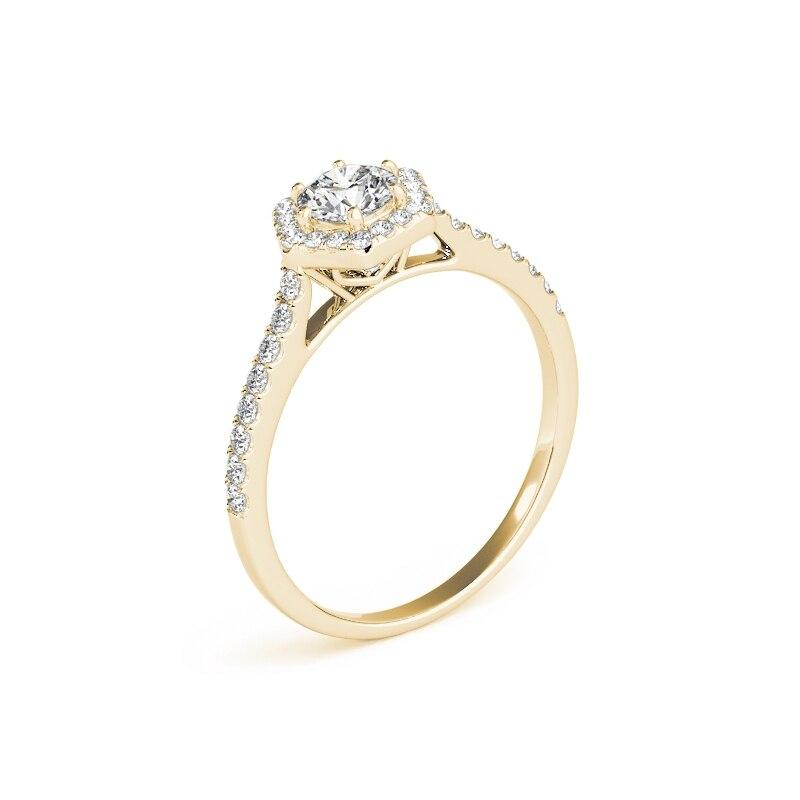 QYI Donna Design Unico Simulato anello di nozze di Diamante 14 k oro Giallo Anniversario di Fidanzamento Halo Anelli - 3