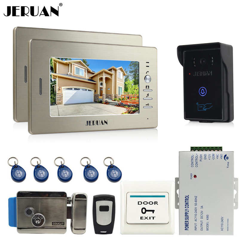 JERUAN 7`` Screen Video Intercom Video Door Phone Entry System 2 monitor+ 700TVL RFID Access Waterproof Camera +Electronic lock jeruan home 7 inch lcd screen video door phone intercom system 1 monitor 700tvl rfid access camera remote control in stock