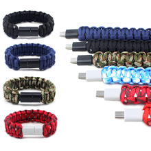 Top Outdoor Braided Camouflage Micro USB Bracelet Charger Data Charging Cable Sync Cord For iPhone 6 6s 7 Android Phone