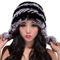 CY06146 New real rex rabbit fur hat with fur pom poms winter fur hats for women knitted beanies cap