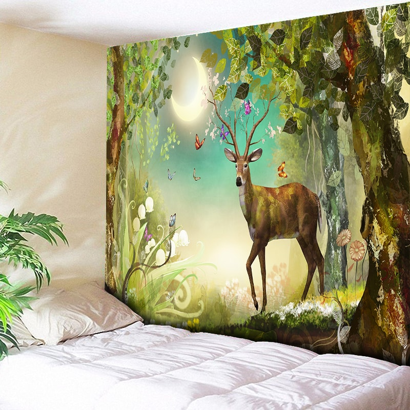 Moonlight Forest Elk Decorative Tapestry Christmas Wall Hanging Bohemian Art Carpets Boho Hippie Tapestries Tablecloth Colorful